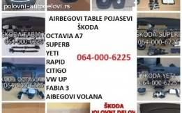 Komplet airbag Škoda Octavia, Rapid, Fabia, Yeti, Citigo itd