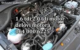 SKODA 1.6 TDI DELOVI MOTORA. KOMPLETAN MOTOR
