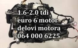 SKODA 1.6 TDI EURO 6 DELOVI MOTORA. KOMPLETAN MOTOR