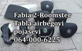 Škoda fabia 2 airbagovi, škoda fabia 2 pojasevi