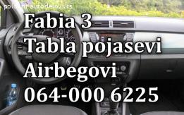 Skoda Fabia 3 airbag, tabla, pojasevi
