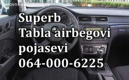 Škoda superb airbegovi, škoda superb pojassevi, škoda superb