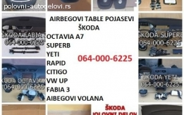 Skoda table, pojasevi, airbag
