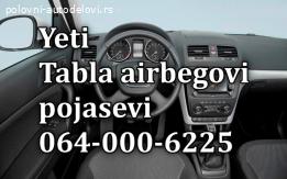 Skoda YETI tabla airbag pojasevi